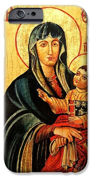 First Lady iPhone Cases - Our Lady of Cieszyn Icon iPhone Case by Ryszard Sleczka