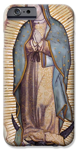 Mary Paintings iPhone Cases - Our Lady of Guadalupe iPhone Case by Richard Barone