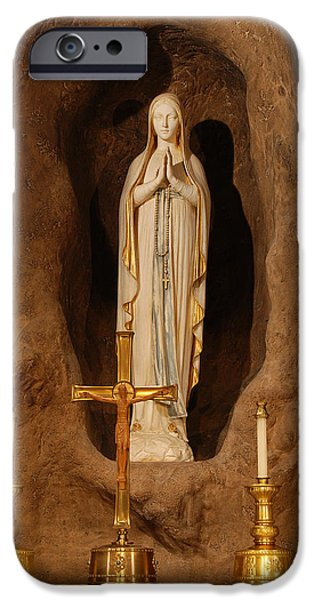 Mother Mary Digital Art iPhone Cases - Our Lady of Lourdes iPhone Case by Philip Ralley
