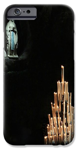 Miracle iPhone Cases - Our Lady of Lourdes with Candles iPhone Case by Carol Groenen