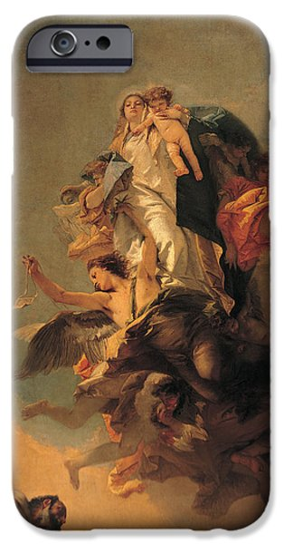 Human Figure iPhone Cases - Our Lady of Mount Carmel  iPhone Case by Tiepolo Giambattista