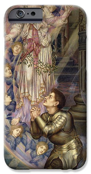 Angel Blues iPhone Cases - Our Lady of Peace iPhone Case by Evelyn De Morgan