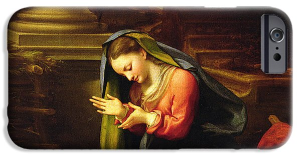 Madonna iPhone Cases - Our Lady Worshipping the Child iPhone Case by Correggio