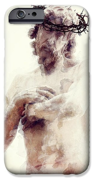 The Church Mixed Media iPhone Cases - OUR LORD and SAVIOR iPhone Case by Daniel Hagerman