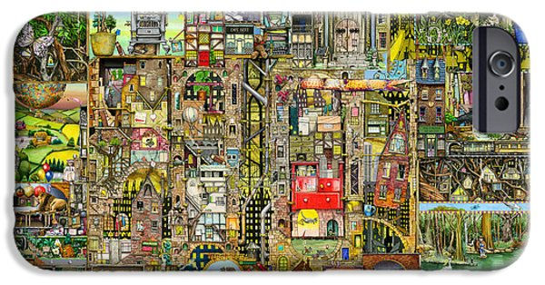 Towns Digital Art iPhone Cases - Our Town iPhone Case by Colin Thompson