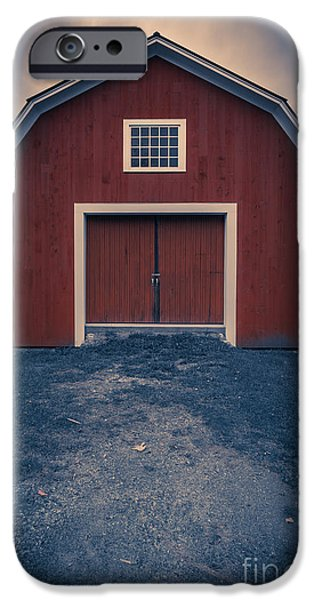 Red Barn iPhone Cases - Out by the barn iPhone Case by Edward Fielding