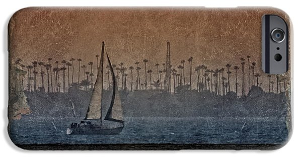 Sailboat Ocean Digital Art iPhone Cases - Out for a Sail 3 iPhone Case by Ernie Echols
