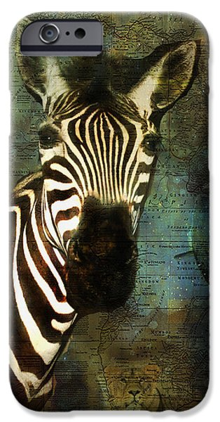 Hippopotamus Digital Art iPhone Cases - Out of Africa 2 iPhone Case by Terry Fleckney