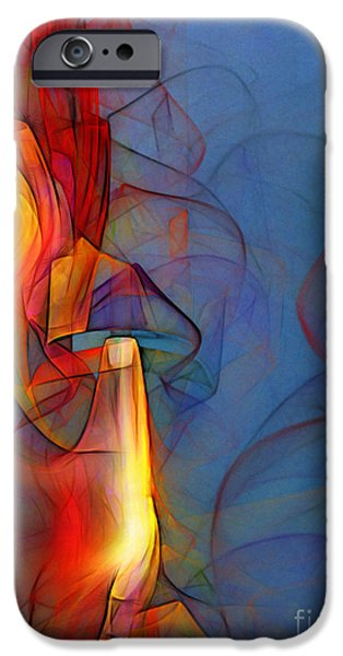 Poetic iPhone Cases - Out of the Blue-Abstract Art iPhone Case by Karin Kuhlmann
