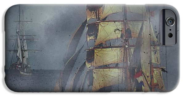 Pirate Ship iPhone Cases - Out of the Mist iPhone Case by Blair Stuart