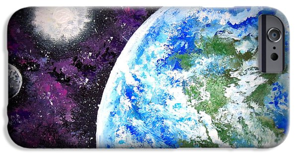Outer Space Paintings iPhone Cases - Out of This World iPhone Case by Daniel Nadeau