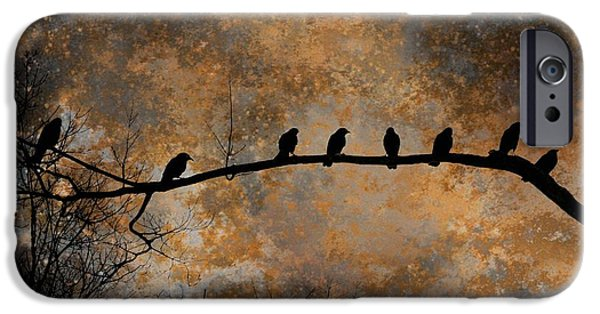 Birds On Limbs iPhone Cases - Out On A Limb iPhone Case by Gothicolors Donna Snyder