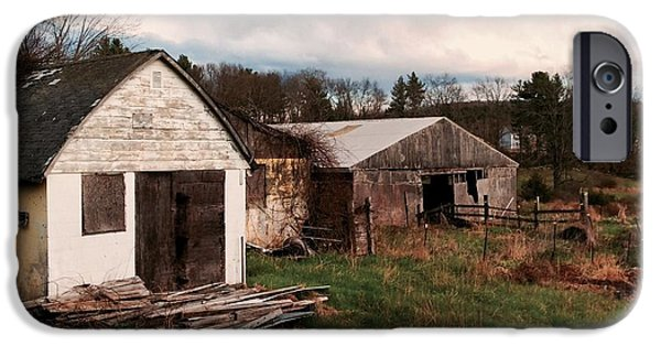 Barn Landscape Pastels iPhone Cases - Out to pasture iPhone Case by Lori Bourgault