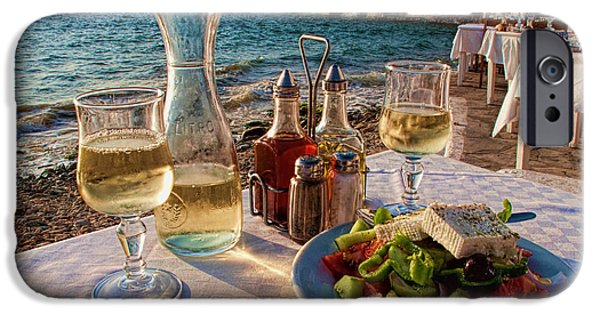 Table Cloth iPhone Cases - Outdoor cafe in Little Venice in Mykonos Greece iPhone Case by David Smith