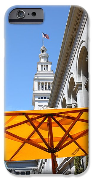 Clock Shop iPhone Cases - Outdoor Dining At the San Francisco Ferry Building 5D25378 iPhone Case by Wingsdomain Art and Photography