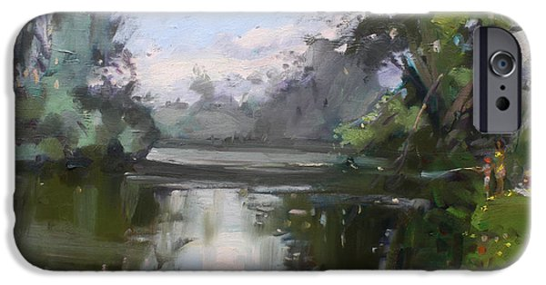 Reflections In River iPhone Cases - Outdoors at Hyde Park iPhone Case by Ylli Haruni