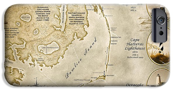 Cape Lookout iPhone Cases - Outer Banks NC Map Antiqued iPhone Case by Scott Geib