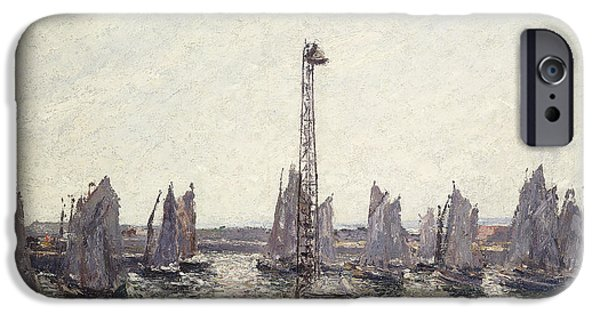 Boat iPhone Cases - Outer Harbor and Cranes Le Havre iPhone Case by Camille Pissarro