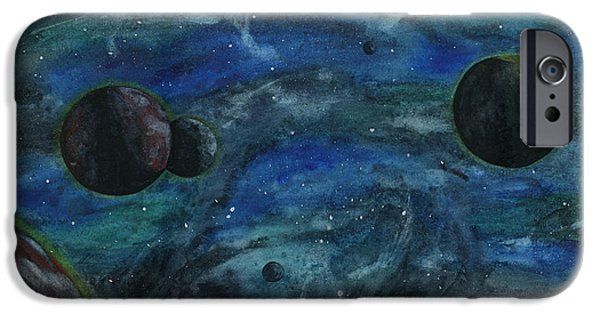 Outer Space Paintings iPhone Cases - Outer Space iPhone Case by Alison  Page