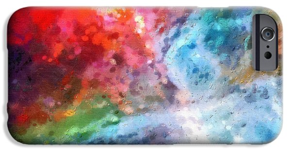 Outer Space Paintings iPhone Cases - Outer space patterns iPhone Case by Magomed Magomedagaev