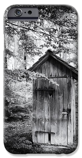 Recently Sold -  - Forest iPhone Cases - Outhouse in the forest black and white iPhone Case by Matthias Hauser