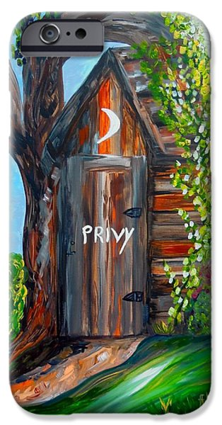 Bathroom Prints iPhone Cases - Outhouse - Privy - The Old Out House iPhone Case by Eloise Schneider