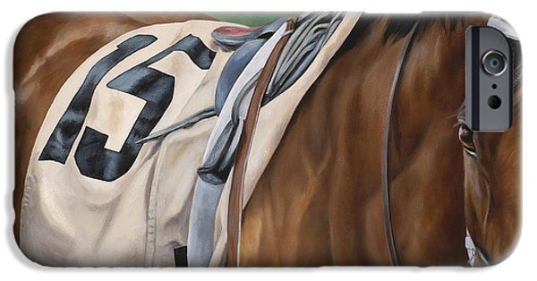 Thoroughbred iPhone Cases - Outisde Chance iPhone Case by Linda Shantz