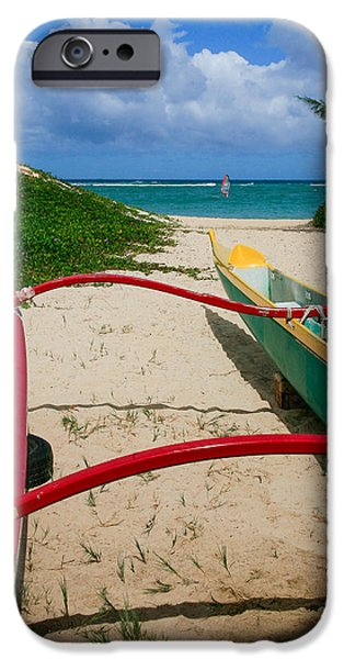 Canoe iPhone Cases - Outrigger Beach iPhone Case by Paul Moore