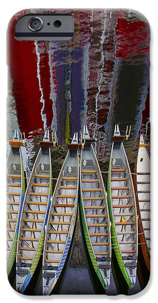 Outrigger Canoe Boats And Water Reflection iPhone Case by Ben and Raisa Gertsberg
