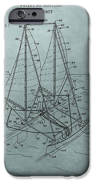 Sailboat Ocean Mixed Media iPhone Cases - Outrigger Sailboat Patent iPhone Case by Dan Sproul