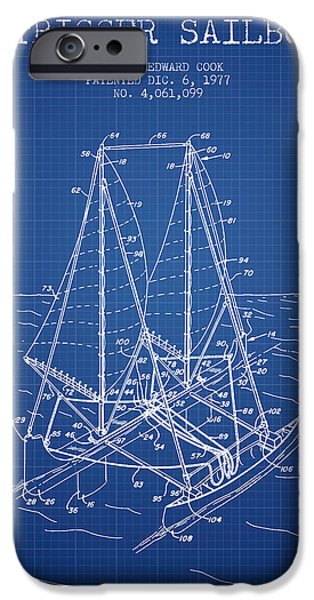 Sailboats iPhone Cases - Outrigger Sailboat patent from 1977 - Blueprint iPhone Case by Aged Pixel