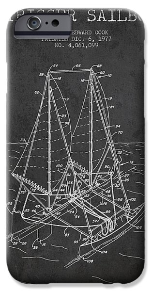 Sailboats iPhone Cases - Outrigger Sailboat patent from 1977 - Dark iPhone Case by Aged Pixel