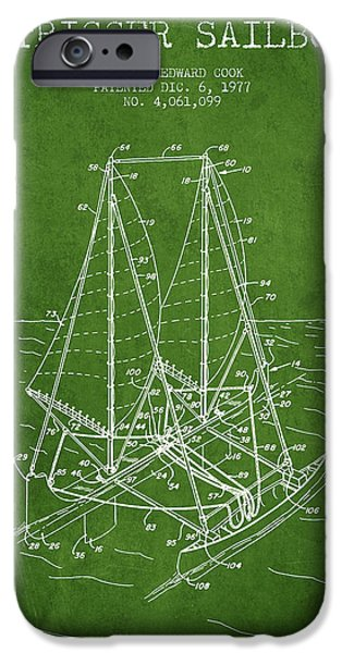 Sailboats iPhone Cases - Outrigger Sailboat patent from 1977 - Green iPhone Case by Aged Pixel
