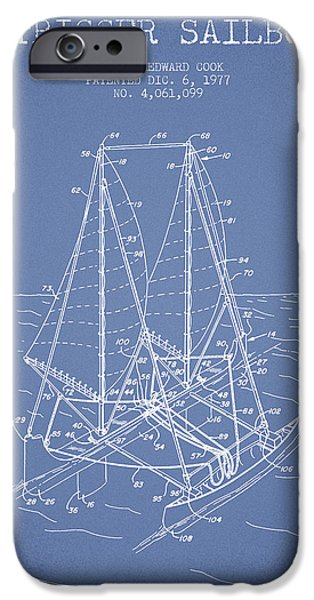 Sailboats iPhone Cases - Outrigger Sailboat patent from 1977 - Light Blue iPhone Case by Aged Pixel
