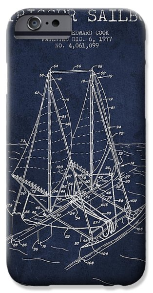Sailboats iPhone Cases - Outrigger Sailboat patent from 1977 - Navy Blue iPhone Case by Aged Pixel