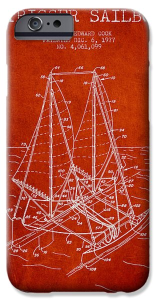 Sailboats iPhone Cases - Outrigger Sailboat patent from 1977 - Red iPhone Case by Aged Pixel