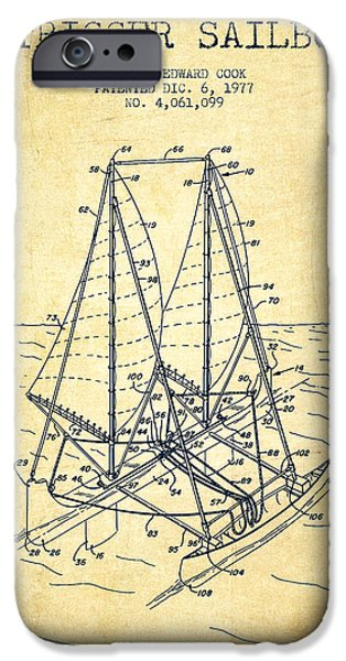 Sailboats iPhone Cases - Outrigger Sailboat patent from 1977 - Vintage iPhone Case by Aged Pixel