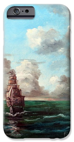 Pirate Ships iPhone Cases - Outrunning The Storm iPhone Case by Lee Piper
