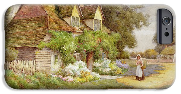 Charming Cottage iPhone Cases - Outside the Cottage  iPhone Case by Ethel Hughes