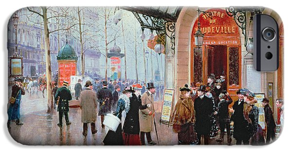 Gas Paintings iPhone Cases - Outside the Vaudeville Theatre iPhone Case by Jean Beraud