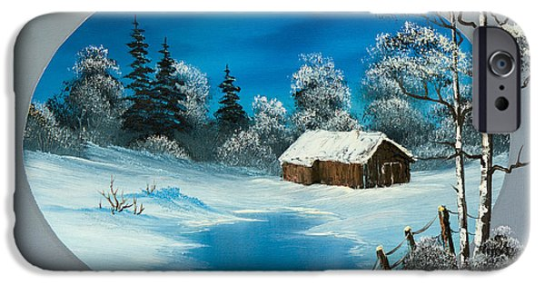 Bob Ross Paintings iPhone Cases - Snowy Barn iPhone Case by C Steele