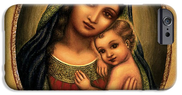 Jesus And The Children Print iPhone Cases - Oval Madonna  iPhone Case by Ananda Vdovic
