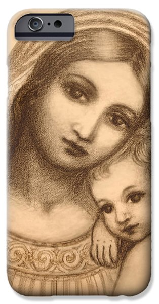Jesus And The Children Print iPhone Cases - Oval Madonna Drawing iPhone Case by Ananda Vdovic