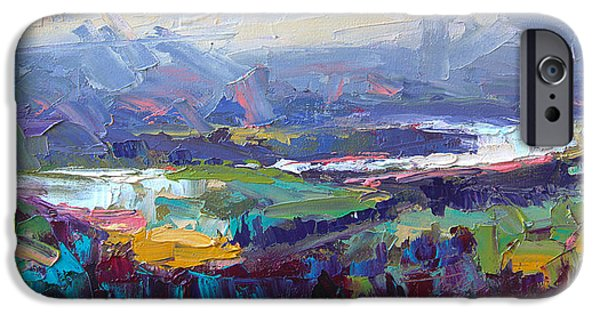 Abstract Expressionist iPhone Cases - Overlook abstract landscape iPhone Case by Talya Johnson