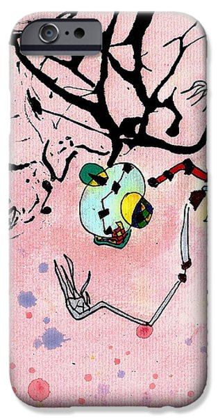 Abstractions Drawings iPhone Cases - Over Here iPhone Case by Jeff Barrett