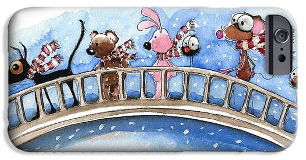 Snow Scene Paintings iPhone Cases - Over the bridge they go iPhone Case by Lucia Stewart