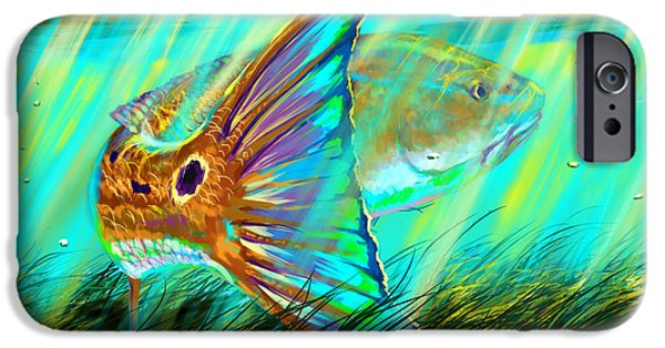 Redfish iPhone Cases - Over The Grass  iPhone Case by Yusniel Santos