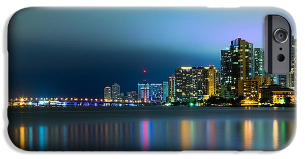Waterfront Photographs iPhone Cases - Overcast Miami Night Skyline iPhone Case by Andres Leon