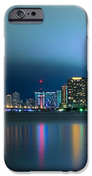 Overcast Miami Night Skyline iPhone Case by Andres Leon