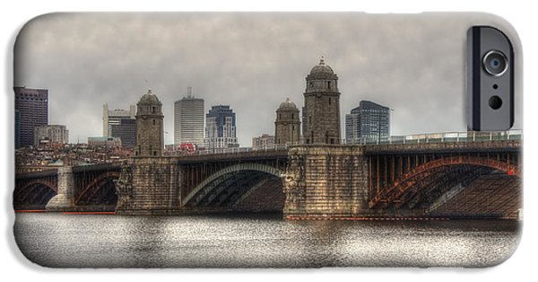 City. Boston iPhone Cases - Overcast on the Longfellow iPhone Case by Joann Vitali